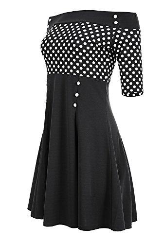 Laeticia Dreams Damen Petticoat-Kleid im Matrosen-Look S M L XL XXL, Größe:38, Farbe:Schwarz/Weiß Punkte Klein
