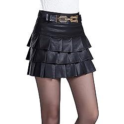 Helan Mujeres Las faldas de cuero corta de multi capa diseno plisado PU