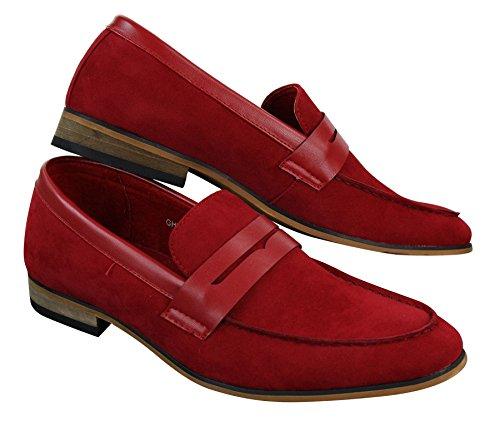 Mocassins homme daim PU sans lacets design italien style chic décontracté rouge marron bleu noir Rouge