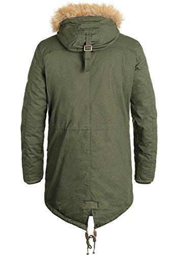 SOLID Clark Herren Parka Winterjacke mit hochabschließendem Kragen und Kapuze aus 100% Baumwolle Ivy Green (3797)