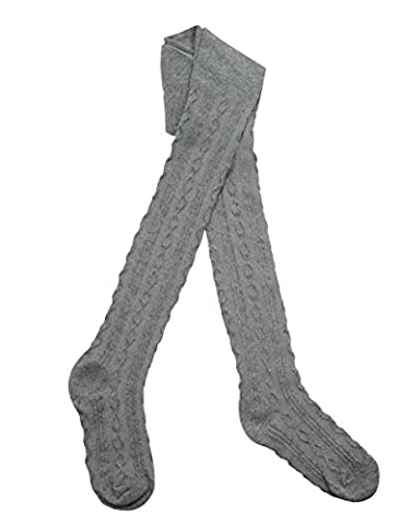 I.L.C.K. Girls Cotton Rich Cable Knit Tights Grey 3-4 Years