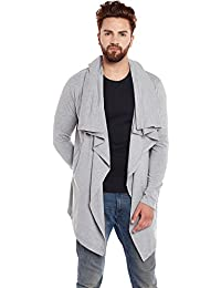 Chill Winston Grey Melange Color Cotton Waterfall Cardigan For Men