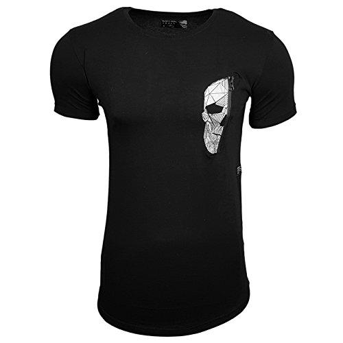 HERREN T-Shirts Druck Größe S M L M XL XXL kurzarm Text RN15102 Schwarz