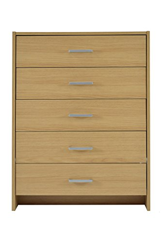 Home Source Chest of Drawers Oak Bedroom Furniture 5 Drawer Silver Handles Metal Runners