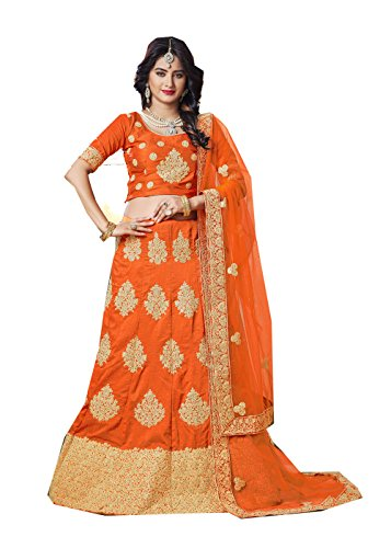 PinkCityCreations Indian Designer Partywear Ethnic Traditional Orange Lehenga Choli Designer-chiffon Sarees
