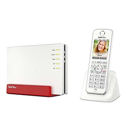 AVM FRITZ!Box 7580 WLAN AC + N Router (VDSL-/ADSL-/ADSL2+-Modem, DECT-Basis, Media Server) + AVM FRITZ!Fon C4 Telefon (deutschsprachige Version, Farbdisplay, beleuchtete Tastatur) weiß