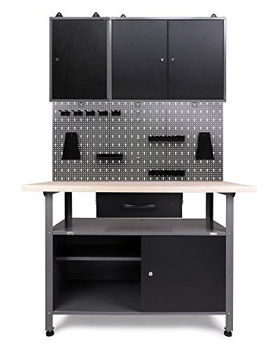 Ondis24 Werkstatteinrichtung Klaus, Metall, TÜV geprüft, 2 Werkstattschränke, Lochwand, Hakensortiment (Arbeisthöhe 85 cm, Schwarz)