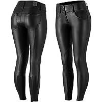 Horze - Pantalones de cuero para equitación, para mujer,con refuerzos en la zona de la rodilla, poliuretano , color Schwarz (BL), tamaño 44