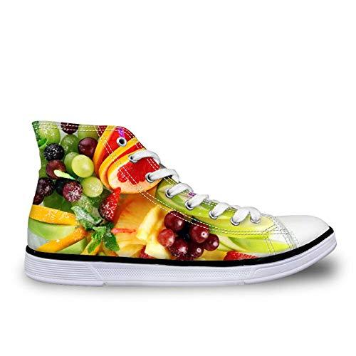 Women Fresh Green Canvas Shoes Hi Tops Lace Up Walking Sneakers Spring Style Fruit CC2066AK UK 8