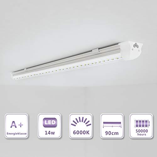 OUBO 90cm LED Leuchtstoffröhre komplett Set mit Fassung kaltweiss 6000K 14W 1850lm Lichtleiste T8 Tube mit klarer Deck (T8 Led Wachsen)