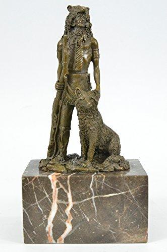 Wolf Robe (Handmade Bronze Skulptur Bronze Statue Wolf Robe The Guardian von Coypel indianischer West Figure-JPxnid-004- Decor Sammler Geschenk)