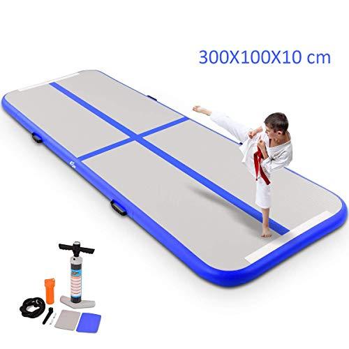 COSTWAY Air Track Aufblasbar Gymnastikmatte Tumbling Matte Air Bodenschutzmatte für Gym Training Yogamatte Trainingsmatten Weichbodenmatte Turnmatte Fitnessmatte Aufblasbar Tragbar 300X100X10CM (Blau)