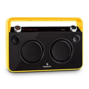 Auna Bebop - Ghettoblaster Bluetooth moderne avec port USB, égaliseur 2 bandes, radio FM et entrées micro (batterie intégrée, télécommande, double subwoofer) - jaune