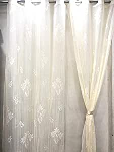 RIDHAAN Imported Net Fabric Door Curtains 7 feet (Off White) Set of 2 psc