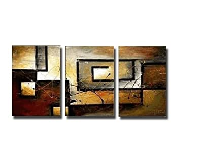 Wieco Art - Modern 3 Panels Abstract Artwork Landscape Giclee Canvas Prints Pictures Paintings on stretched and framed Canvas Wall Art Ready to Hang for Home Decorations Wall Decor 3pcs/set produced by Wieco Art - quick delivery from UK.