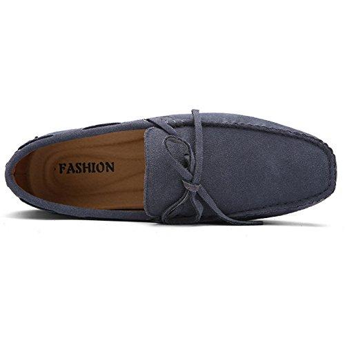 Herren Klassische Slip-on Wildleder Loafers Fahren Halbschuhe Mokassin Lederschuhe Bootsschuhe Grau