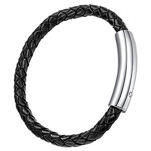 Schwarzes Leder mit Edelstahl Schließe Unisex Armband 20cm