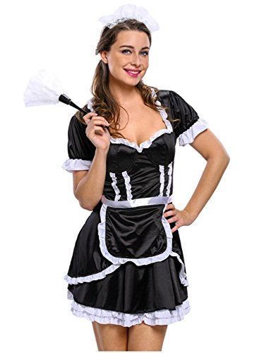 DuuoZy Frauen Sexy Maid Kostüm Kleid Set Maidservant Schürze Nachthemd , S , (Kostüme Maid Mittelalterliche)
