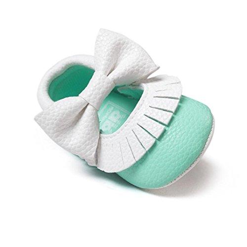Tefamore Baby Girl Bowknot Borlas Sapatos Da Criança Macios Tênis Únicos Sapatos Casuais Verde Menta