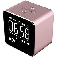 STRIR Reloj Alarma Digital Regulable Con Radio FM Estéreo Y Sonido HD Con Altavoces Bluetooth Wireless Stereo Altavoz Mic para iPad iPhone Móviles Android (Oro rosa)