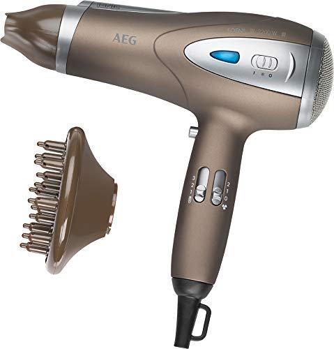 AEG HTD 5584 Secador de pelo profesional iónico, 3 niveles de temperatura, 2 velocidades, difusor, 2200 W, ECO-Save, color marrón