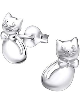 Laimons Kids Kinder-Ohrstecker Kinderschmuck Katze glanz Sterling Silber 925