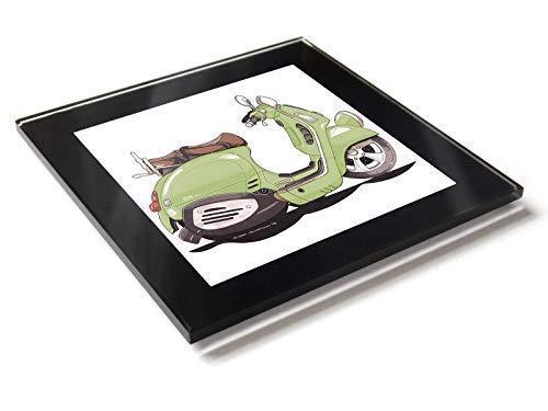Koolart Cartoon Roller Vespa Gtv 250cc Glastisch Untersetzer mit Geschenkverpackung - Grün, 10cm x 10cm
