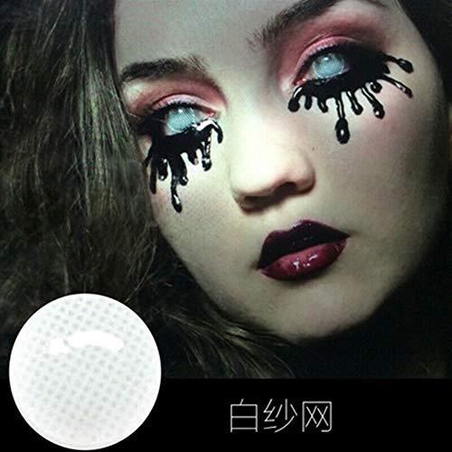 No logo 1pair Halloween Cosmetic Farbige Linsen-kosmetischer Augen-Make-up-Objektiv Ganze Blinde 1 Jahr, 0.00 Dioptrien (Farbe : Net White)