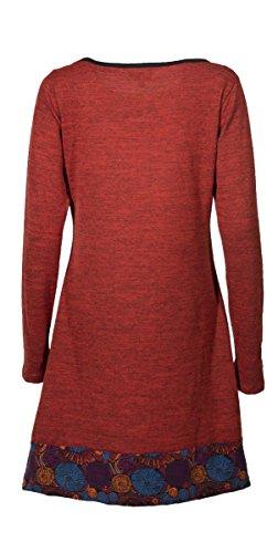 Coline - Robe à manches longues aux détails soignés Rouge