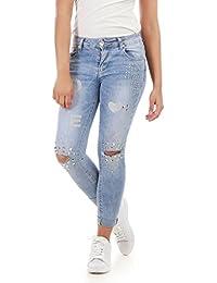 La Modeuse - Jeans slim délavé et déchiré aux genoux