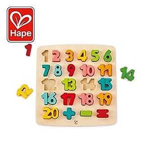 Hape International- Chunky Number Puzle Encajable Matemáticas, Multicolor, 5