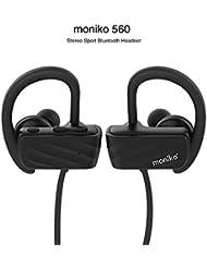 Auriculares Bluetooth 4.1,Moniko Auriculares Inalámbrico Deportivos con Micrófono, Sweatproof Impermeables, Sonido Estéreo de calidad superior para Hacer Deporte Correr Running Compatible con iPhone 7 6 7 Plus Samsung S6 Sony Movil