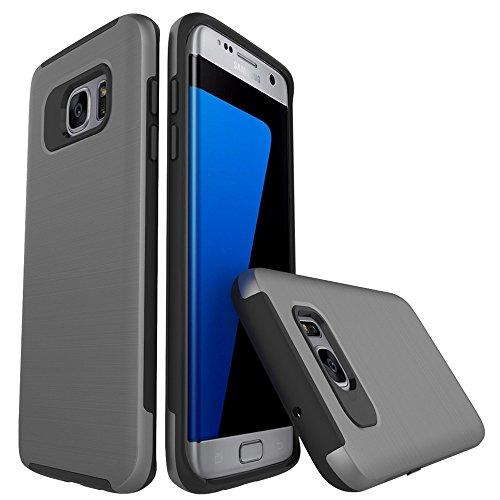 Samsung Galaxy S7 Edge Handyhülle Silikon Casefirst TPU Case Schale Schlank Anti-Fingerabdruck Stoßfest Schutzhülle 360 Grad Case Robust Schutzhülle Cover mit Eingebautem Displayschutz für Samsung Galaxy S7 Edge (Grau)
