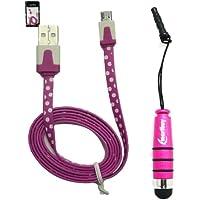 Emartbuy® Tupfen Bereich Duo Pack Für TechniPad 10G 10.1 Inch Tablet - Rosa Metallic Mini Stylus + Tupfen Rosa / Weiß Flach Anti-Tangle Micro Usb Sync Übertragen Von Daten Und Ladekabel
