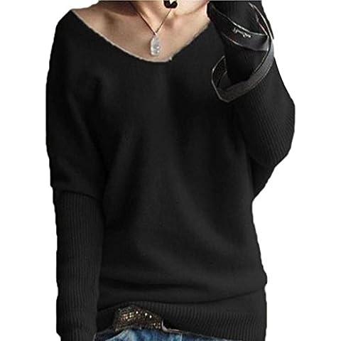 Vestido de invierno mujer sweather, RETUROM moda mujer manga larga jerseys sueltos V-cuello camisa sweather blusa Top