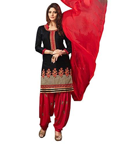 SareeShop Women's Cotton Salwar Suit Unstitched Dress Material(Femina-1004_Black & Red_ Free Size)