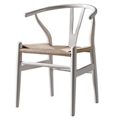 Esszimmerstühle Massivholz Haushalt Halb Sessel Mid Century Küchenstühle Retro Kuhfell Seil Kissen Stühle aus Holz Beine Stühle (Farbe: weiß)