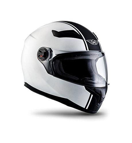 MOTO X86 Racing Matt White · Scooter-Helm Sport Helmet Motorrad-Helm Roller-Helm Cruiser Integral-Helm Sturz-Helm Urban · ECE zertifiziert · mit Visier · inkl. Stofftragetasche · Weiß · XS (53-54cm)