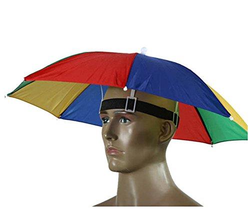 Paraguas de cabeza Westeng para el sol y la lluvia, para golf, pesca y acampada, 55 cm de diámetro, 1 unidad, Multicolor