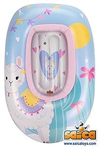 Saica- Barca Hinchable para niñ@s Llama. Piscina. Colchoneta. Fun, Color Blanco y Azul (9733)