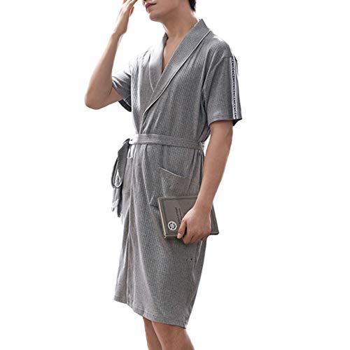 Preisvergleich Produktbild LIULIFE Morgenmantel Herren Nachtwäsche Baumwolle Nachthemd Kurzarm Bademantel Lose Mode Lässig Zuhause Hausmantel Strickjacke Loungewear, Grey-L
