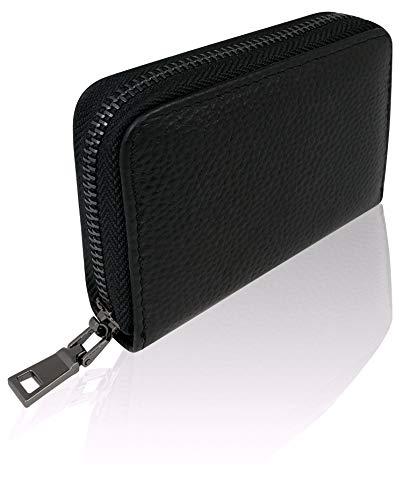 Premium Kredit-Karten-Etui Geldbörse Echt-Leder mit Edel Stahl rundum Reißverschluss Zipper 12 Fächer RFID Schutz - klein Mini Slim Karten-Hülle Portemonnaie Portmonee Brieftasche Geldbeutel schwarz - Reißverschluss-etui