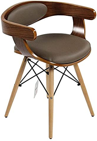 Charles Jacobs Retro Low Back Chairs - Walnut With Black Cushions (Brown)