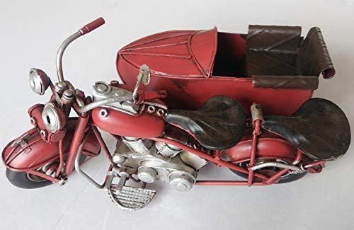 FandG Supplies Beiwagen aus Blech, Vintage, Retro-Stil, für den Schreibtisch, 18 cm lang in Zwei Farben rot hellblau rot