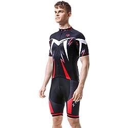 X-TIGER Ciclismo Maillots para Hombres con Tirantes Manga Corta Transpirable Secado Rápido con 5D Acolchado Gel Culotes Pantalones Cortos (Rojo,L)