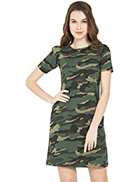 fcece31ea5b4 Wear Your Opinion WYO Women s Casual Dress T-Shirt(Stylist Military Army  Print Top