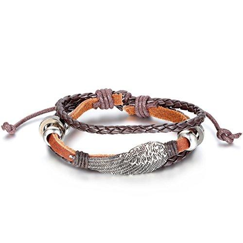 JewelryWe Schmuck Engel Flügel Beads Ringe Legierung Leder Armband, Geflochten Herren Damen Lederarmband Armreif, 19,5cm-25,5cm Verstellbare Größe, Braun Silber