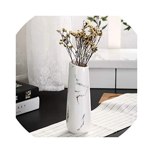 Tischvase mit Marmor-Blume, glänzend, Weiß Size Farbe