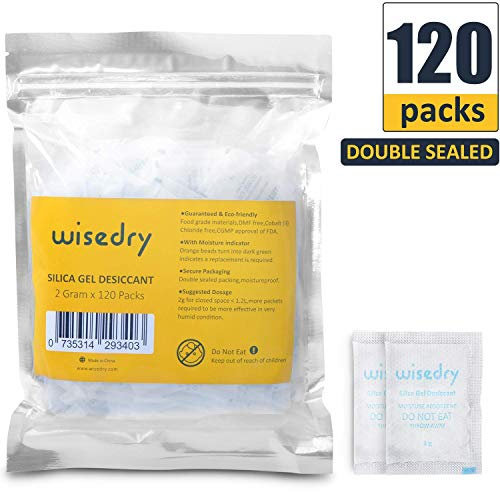 36b07e50e 2 Gram [120 Packs] wisedry Small Silica Gel Sachets Desiccant Packs for  Food Storage