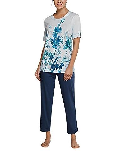 Schiesser Anzug 7/8, 1/2 Arm, Pyjamas Deux-Pièces Femme, Blau (Aqua 833), 50